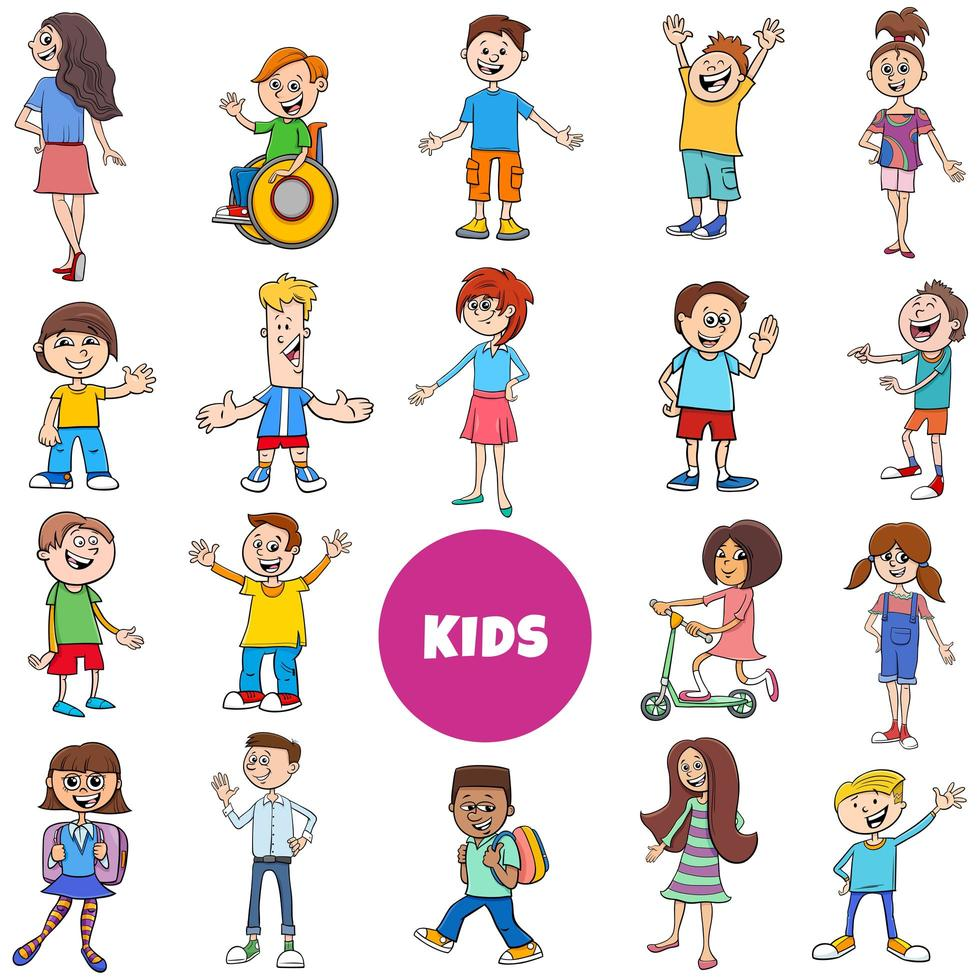 grande conjunto de personagens de quadrinhos para crianças e adolescentes vetor