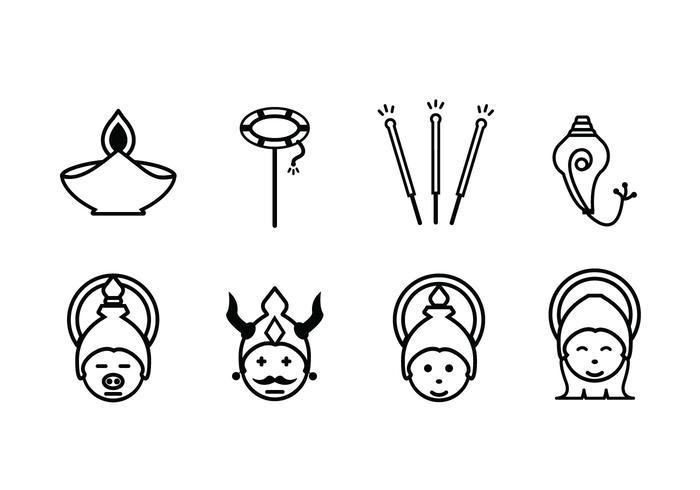 Ícones do conjunto de celebrações Diwali vetor
