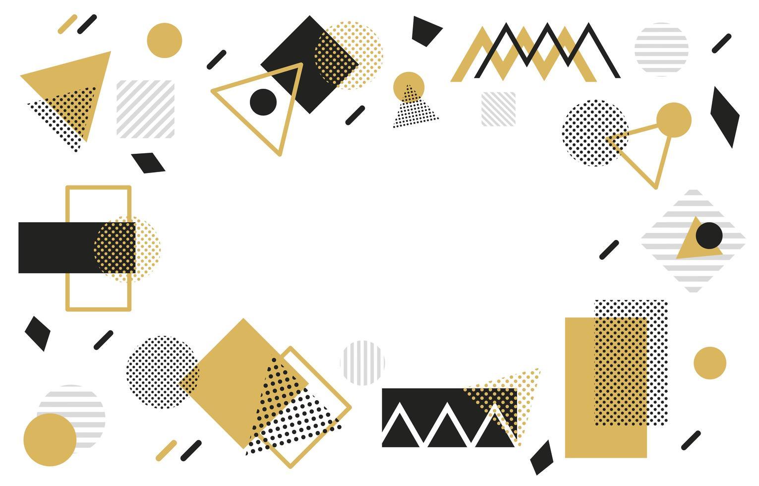 fundo geométrico dourado e preto vetor