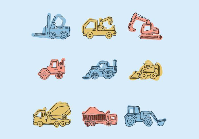 Doodles de equipamento de construção vetor