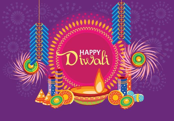 Cracker de fogo para Happy DiwaliVector vetor