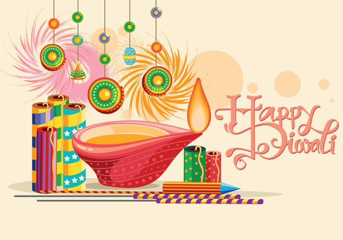 Burning Diya e Fire Cracker no Happy Diwali Holiday Background for Light Festival da Índia vetor