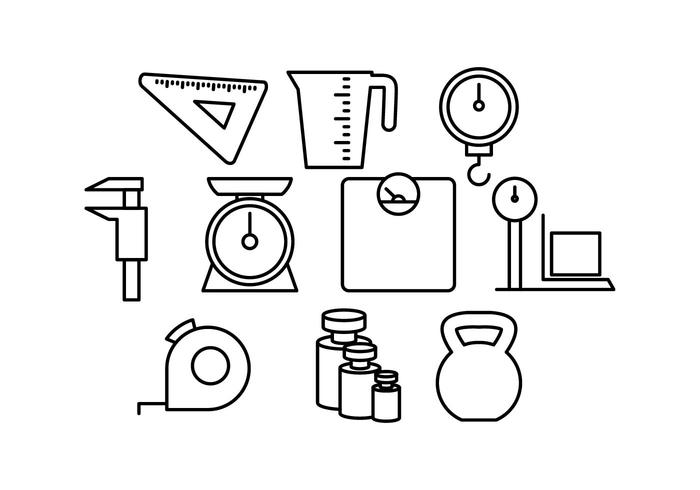 Vector de ícones de linha de medição grátis