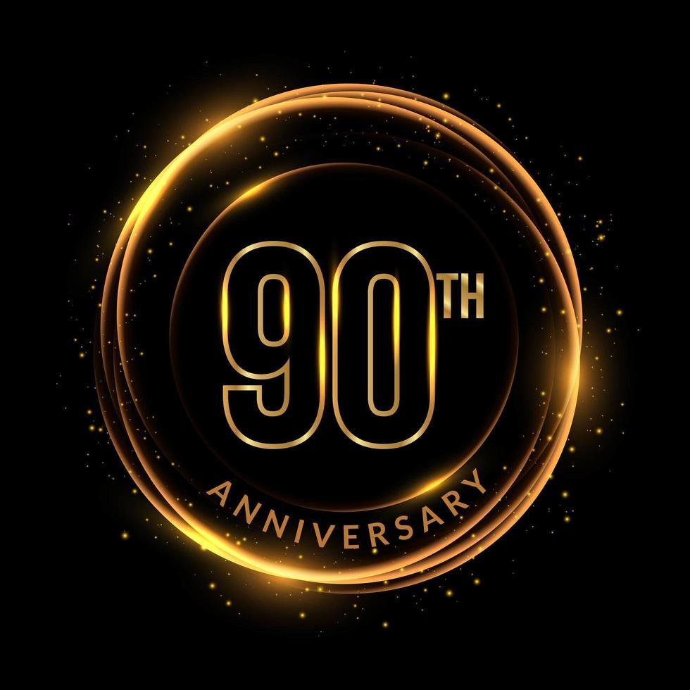 texto dourado cintilante do 90º aniversário em moldura circular vetor