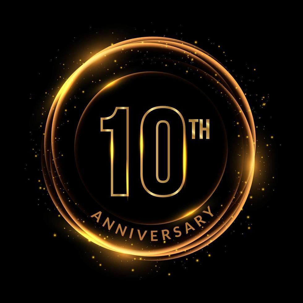 texto dourado brilhante do 10º aniversário em moldura circular vetor