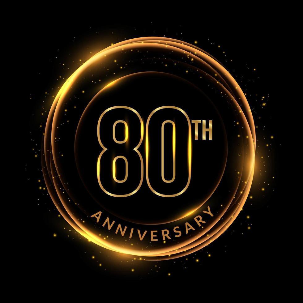 texto dourado brilhante do 80º aniversário em moldura circular vetor