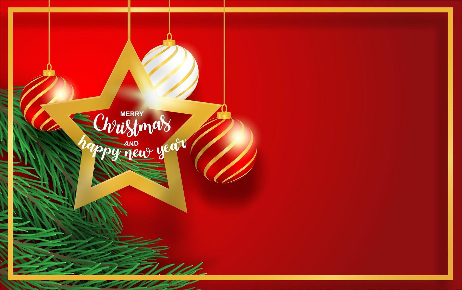 desenho de natal com ramos, estrela e bola no vermelho vetor