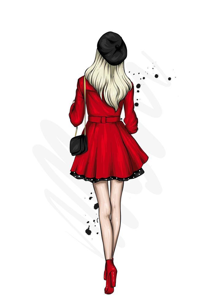 costas da menina em elegantes roupas vermelhas e pretas vetor