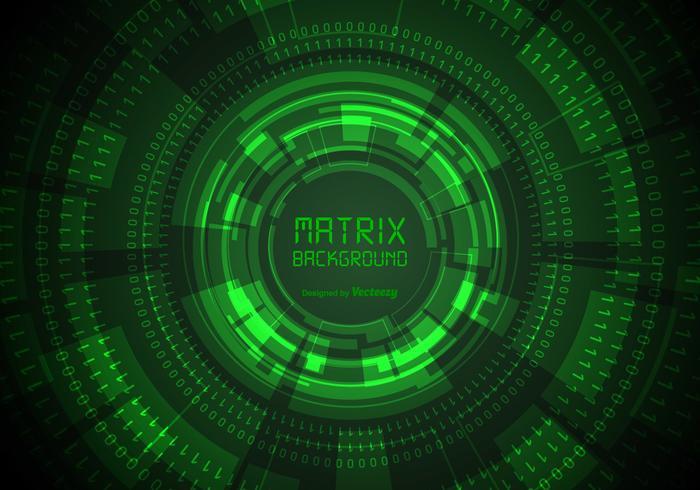 Fundo da matriz verde com elementos binários e Hud vetor