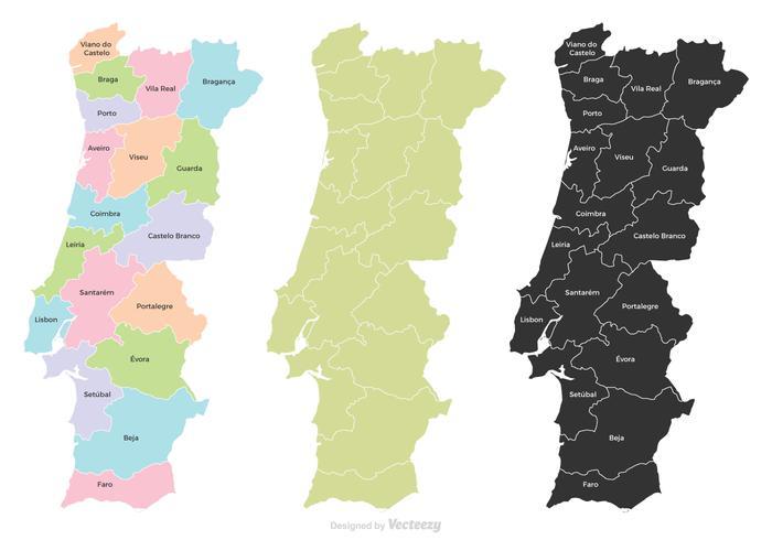 Mapa de Portugal com Regiões vetor