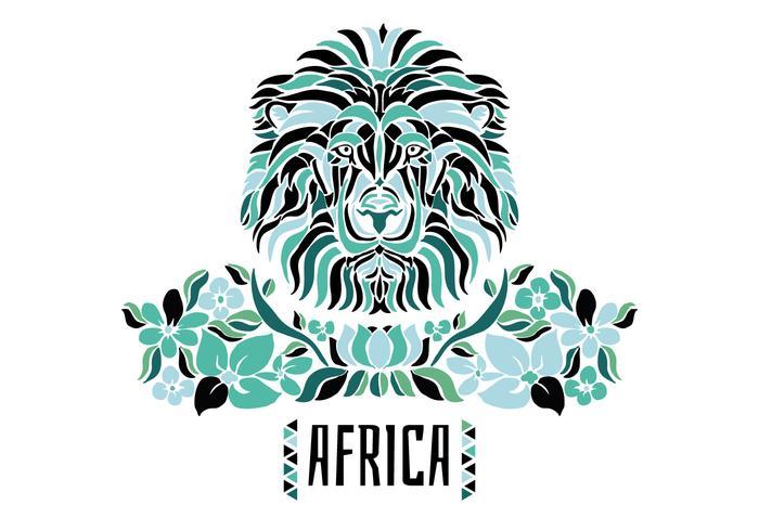 Leão Africano Tribal Com Flores E Folhas Verdes vetor