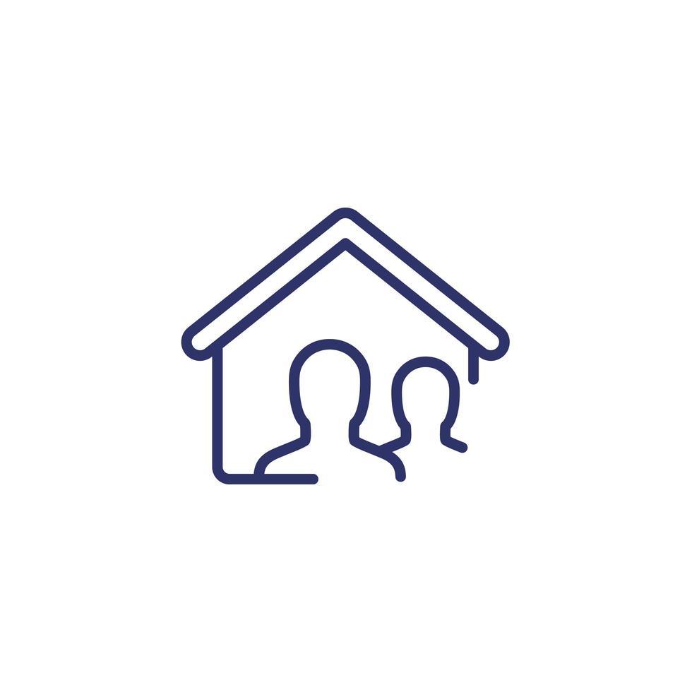 ícone da linha de inquilinos em branco vetor