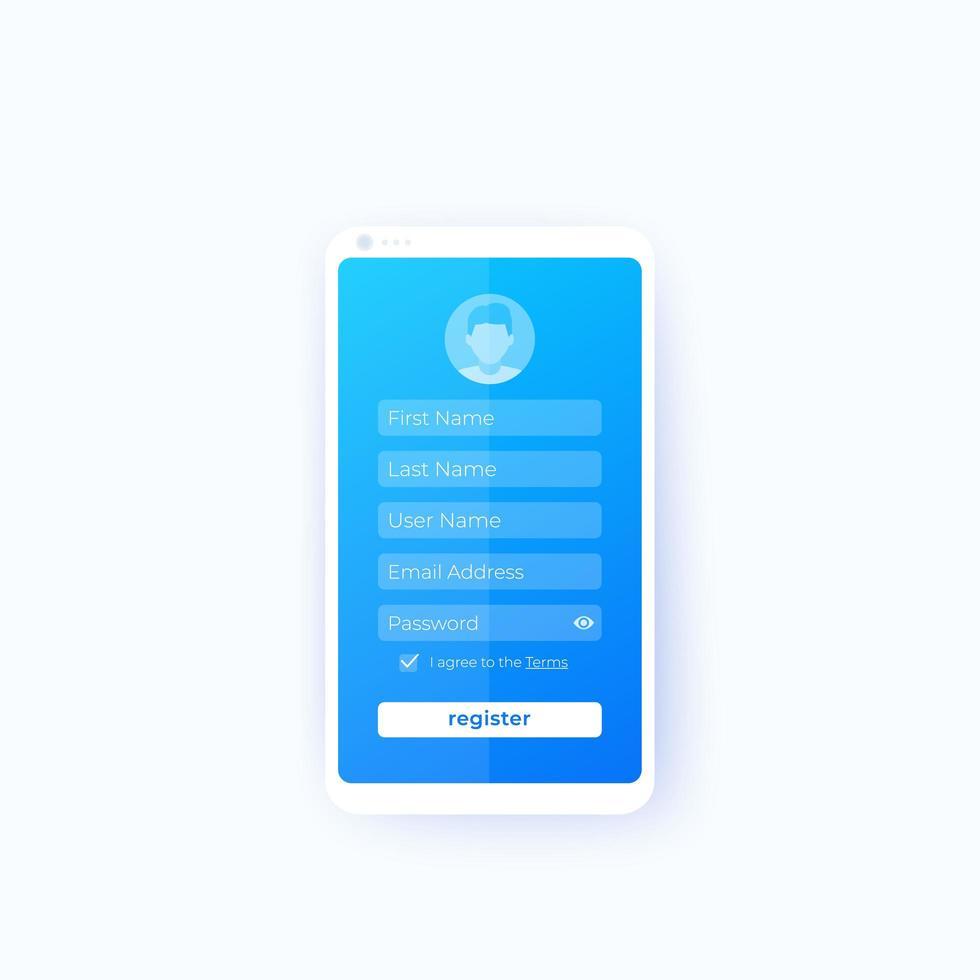 registrar, design da interface do usuário do aplicativo móvel vetor