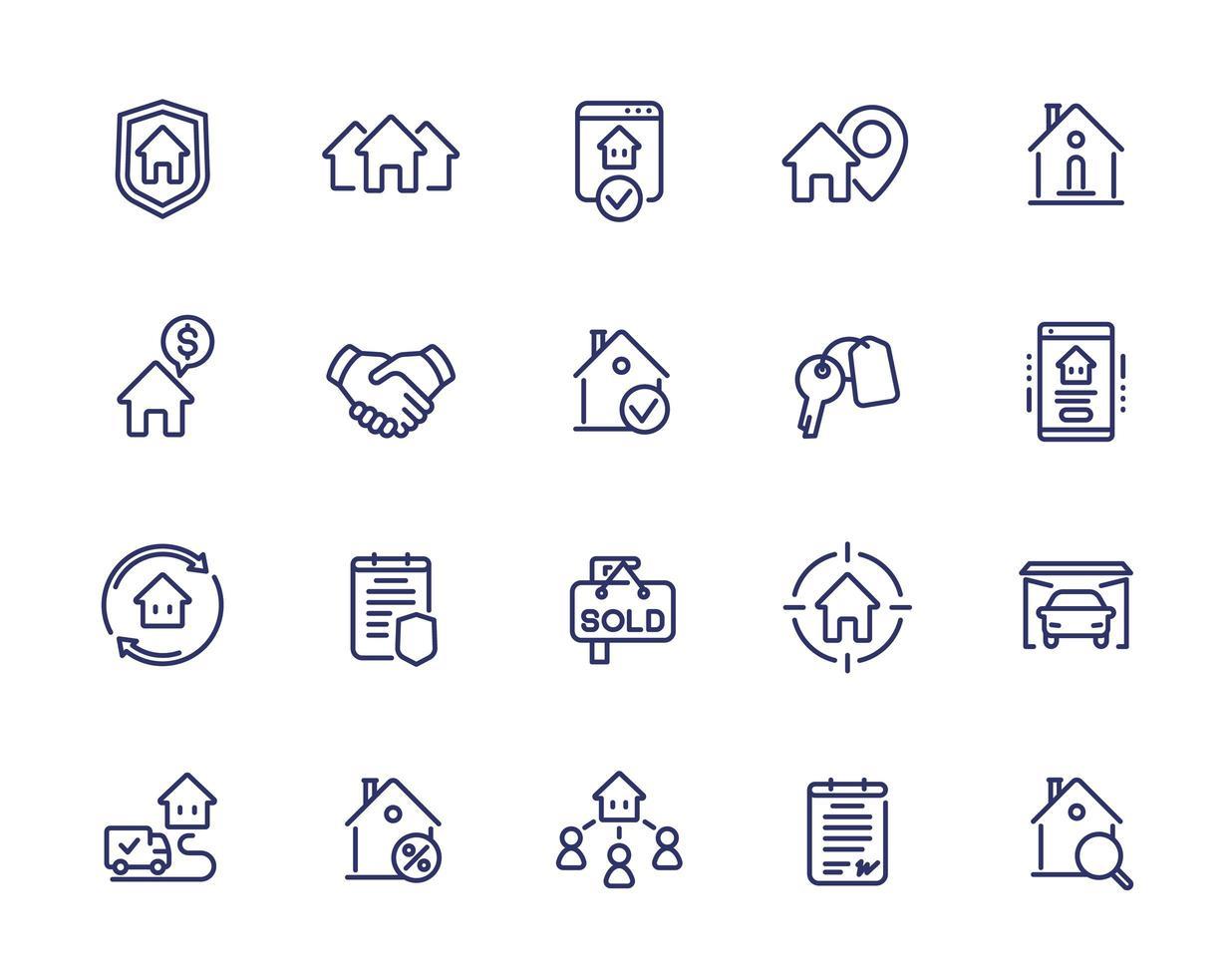 ícones de linha imobiliária, inquilinos, casas para alugar vetor