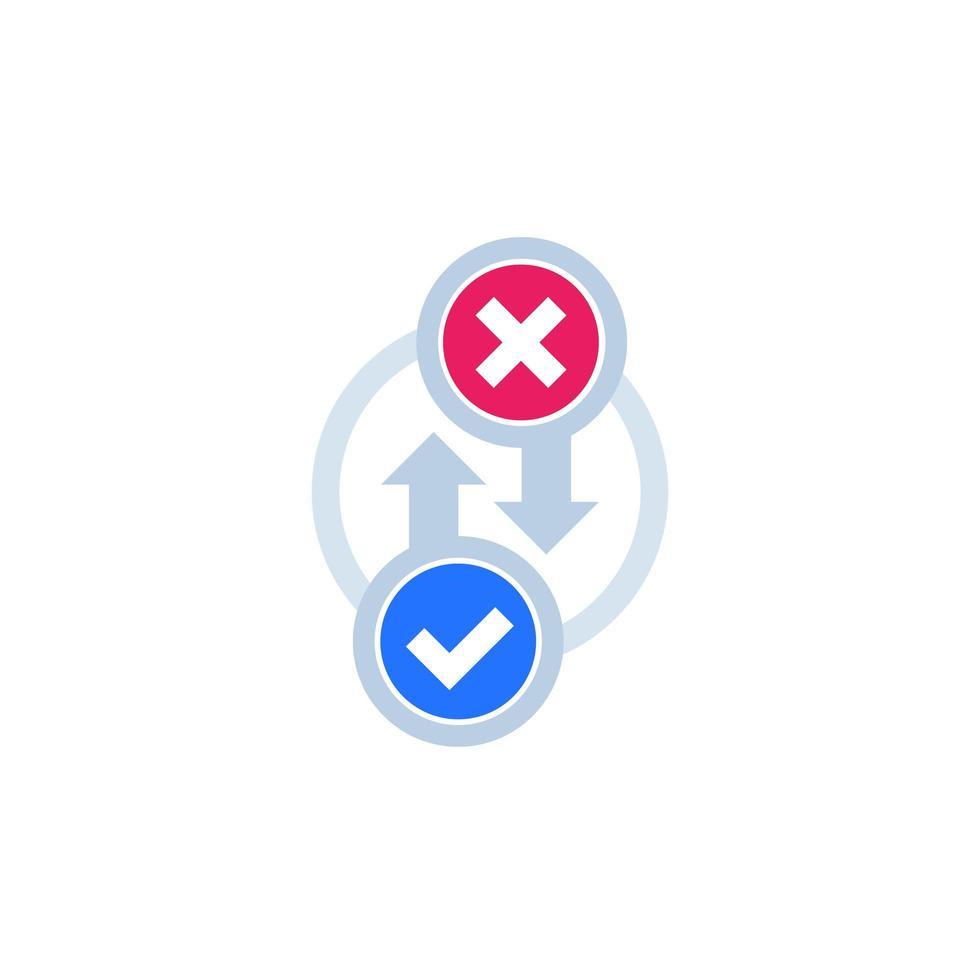 ícone de processo com marca de seleção e cruz vetor