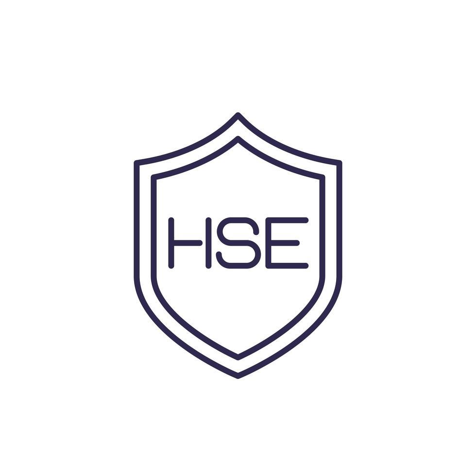 ícone da linha hse, saúde, segurança, meio ambiente vetor