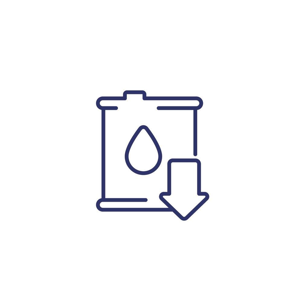 ícone de queda ou redução do preço do petróleo vetor
