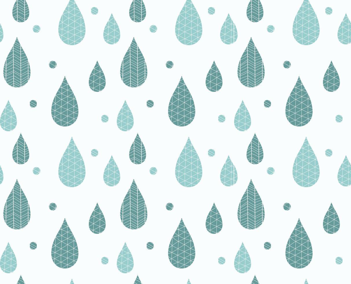 padrão sem emenda com gotas de chuva e desenhos de linha vetor