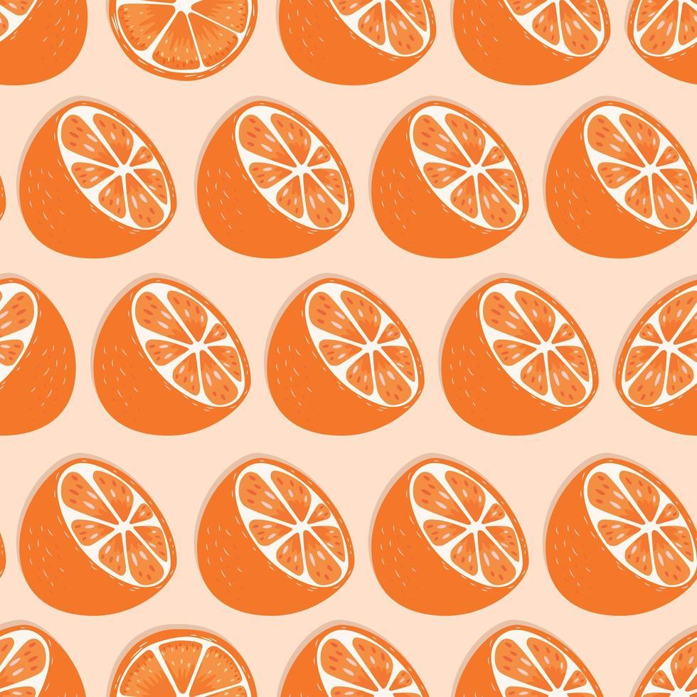 padrão sem emenda de frutas, metades laranja com sombra vetor