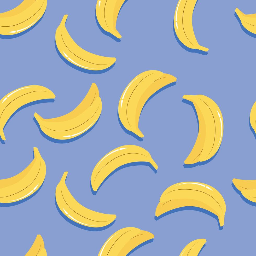 padrão sem emenda de frutas, bananas com sombra vetor