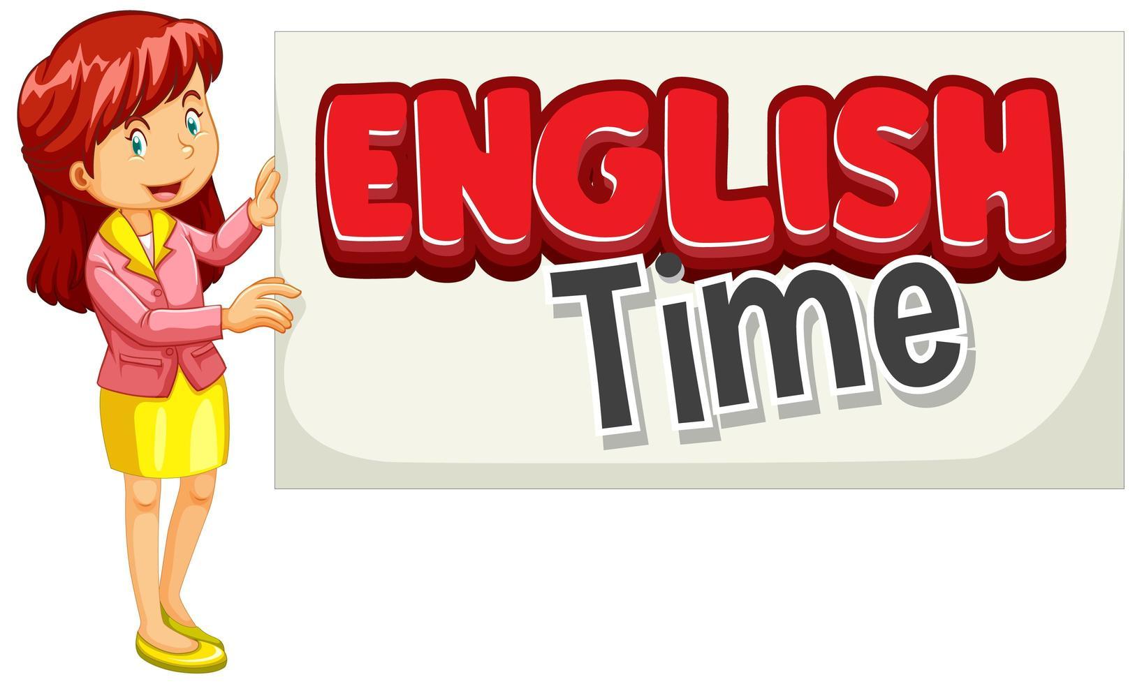design de fonte para a palavra tempo inglês com professor de inglês vetor