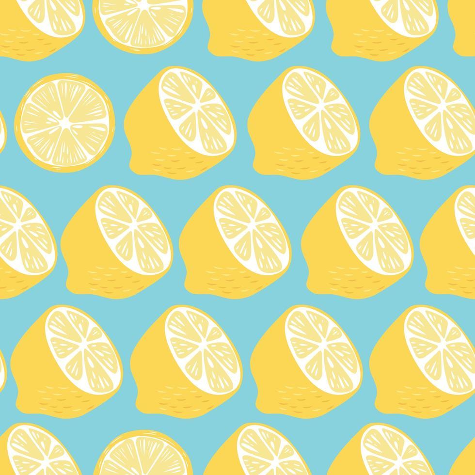 padrão sem emenda de frutas, metades e fatias de limão vetor