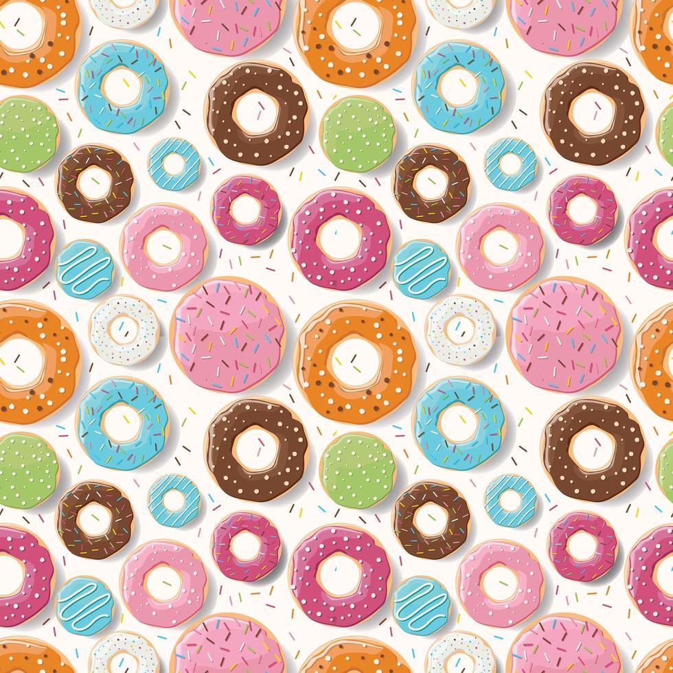 padrão sem emenda com rosquinhas coloridas brilhantes vetor