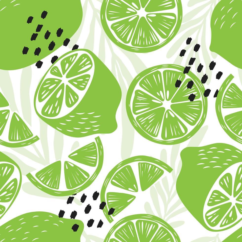 limão com folhas tropicais em fundo branco. vetor