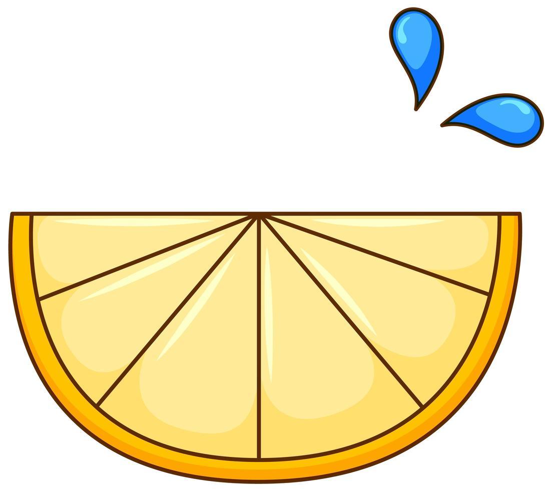 um pedaço de limão no fundo branco vetor