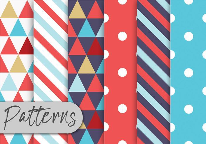 Conjunto de padrões geométricos coloridos vetor