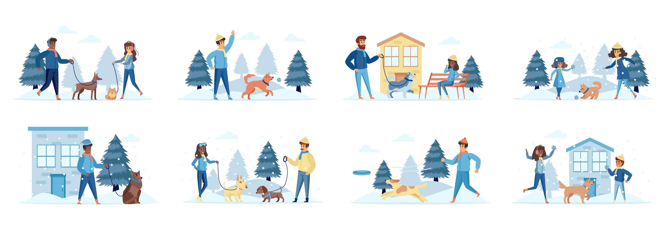 caminhantes de cães agrupam cenas com personagens de pessoas vetor