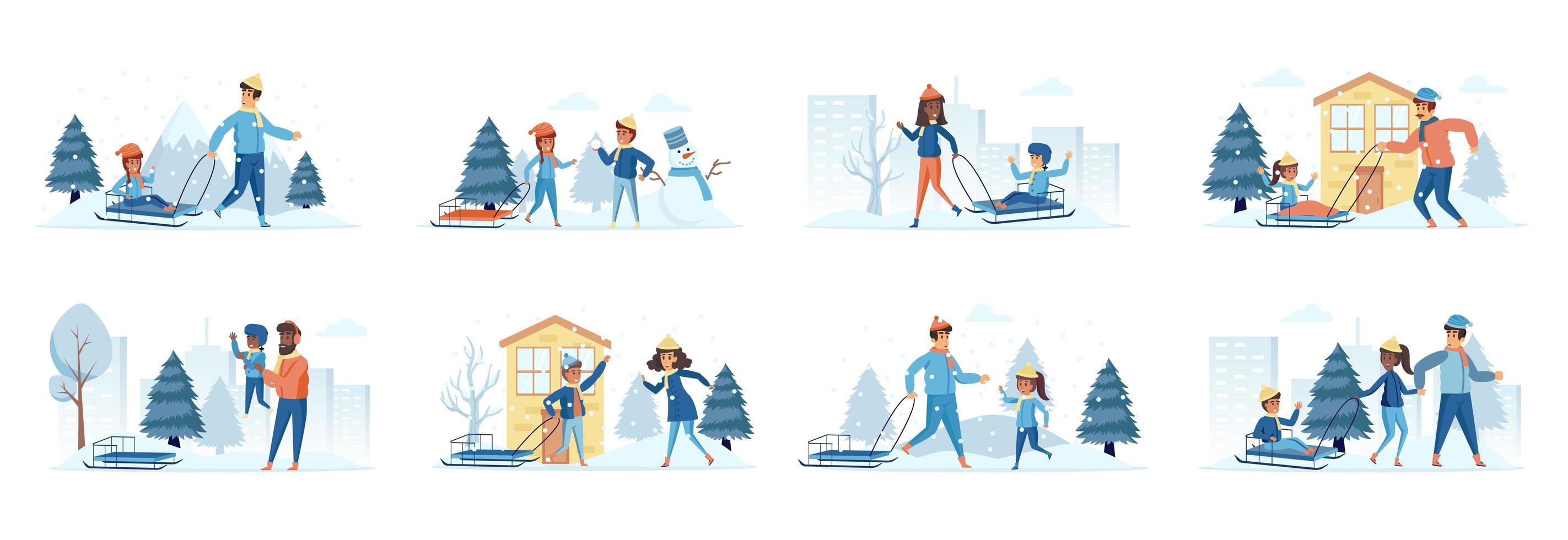 atividades de trenó na neve pacote de cenas com personagens vetor
