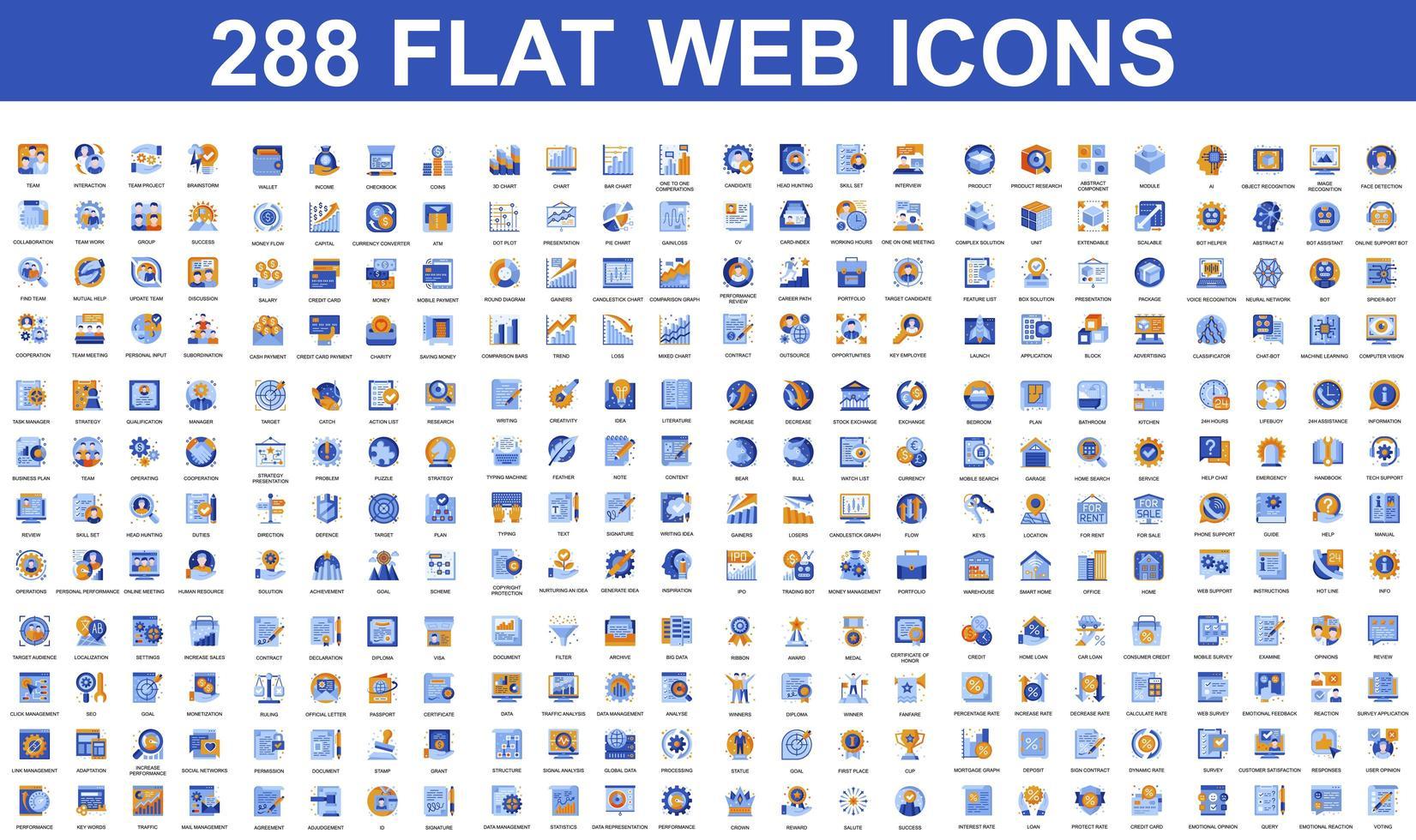 pacote de ícones planos de diferentes conceitos vetor