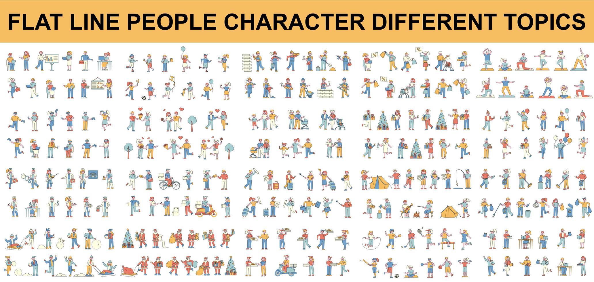 conjunto de diferentes tipos de personagens de pessoas de linha plana vetor