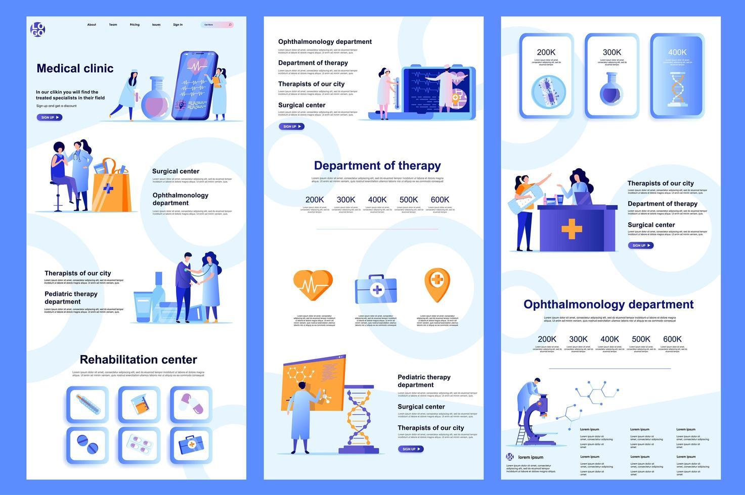 página de destino plana de clínica médica vetor