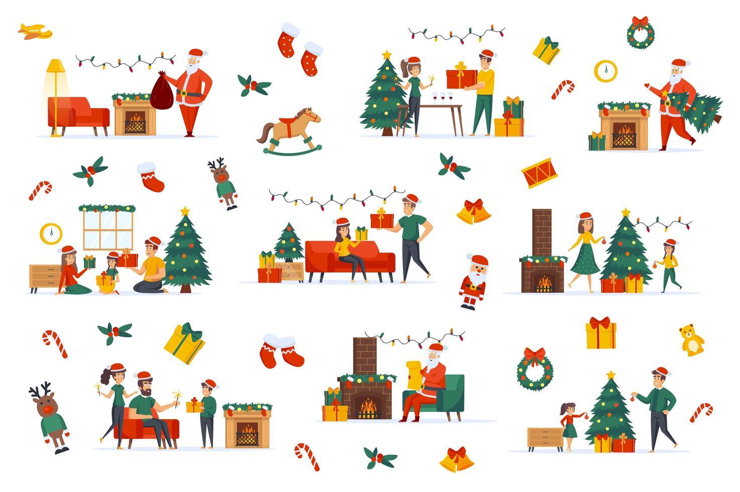 pacote de feliz natal com cenas planas vetor