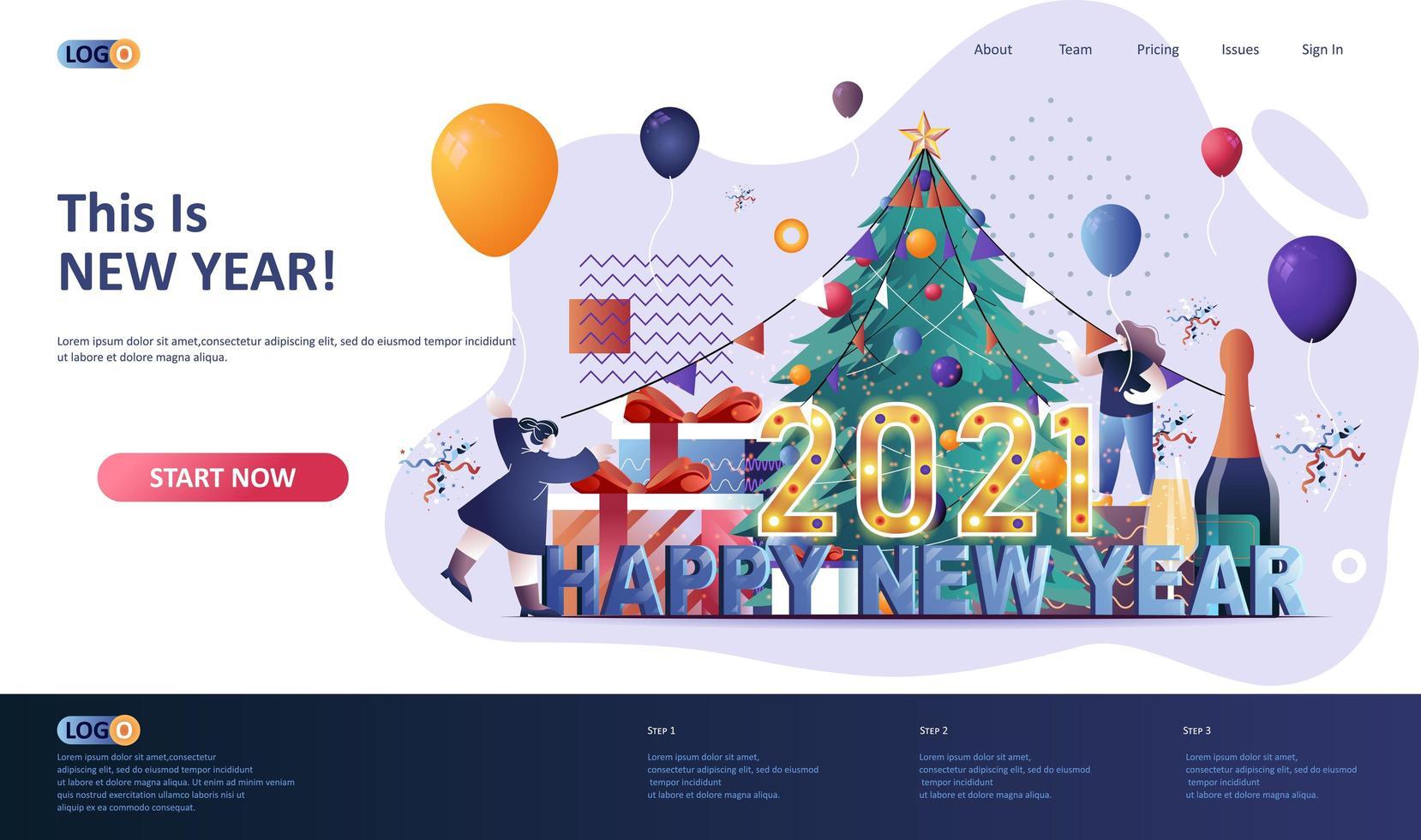 modelo de página de destino plana de feliz ano novo 2021 vetor