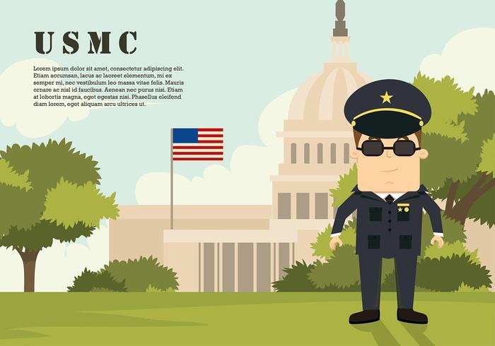 USMC Cartoon Character no Capitol Free Vector
