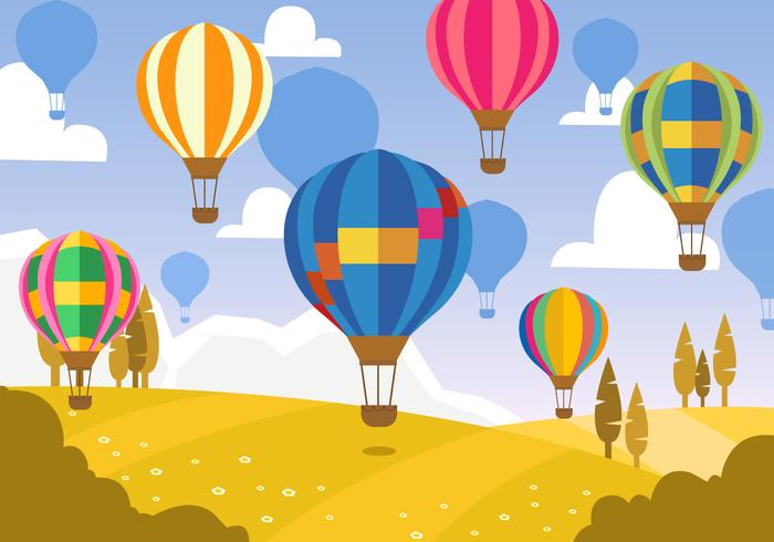 Paisagem com balão de ar quente vetor