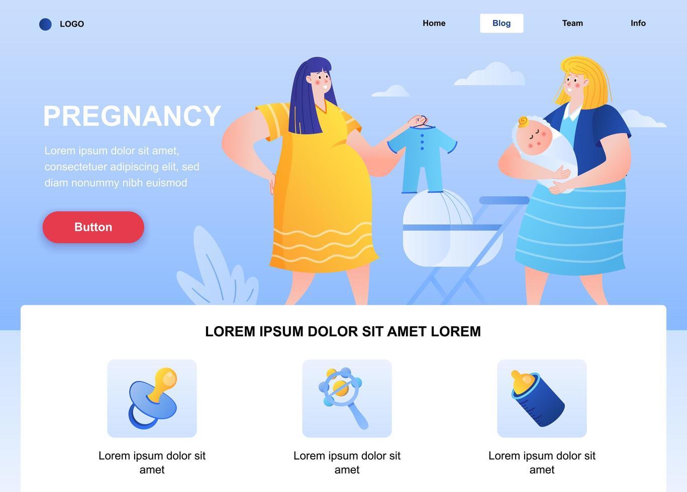 página de destino plana para gravidez vetor