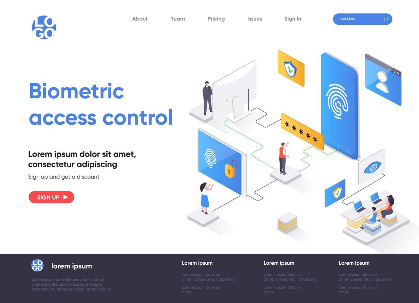 design de página de destino isométrica de controle de acesso biométrico vetor