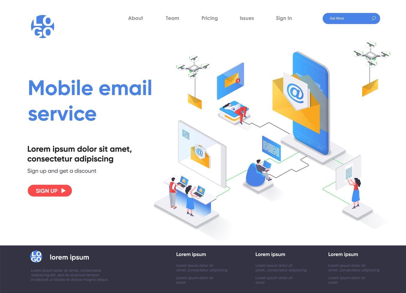 página de destino isométrica do serviço de e-mail móvel vetor