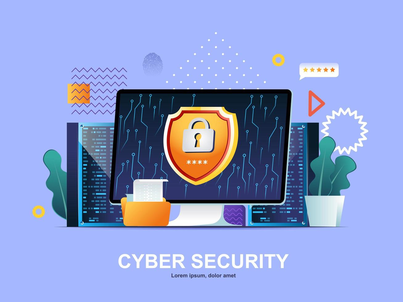 conceito plano de segurança cibernética com gradientes vetor