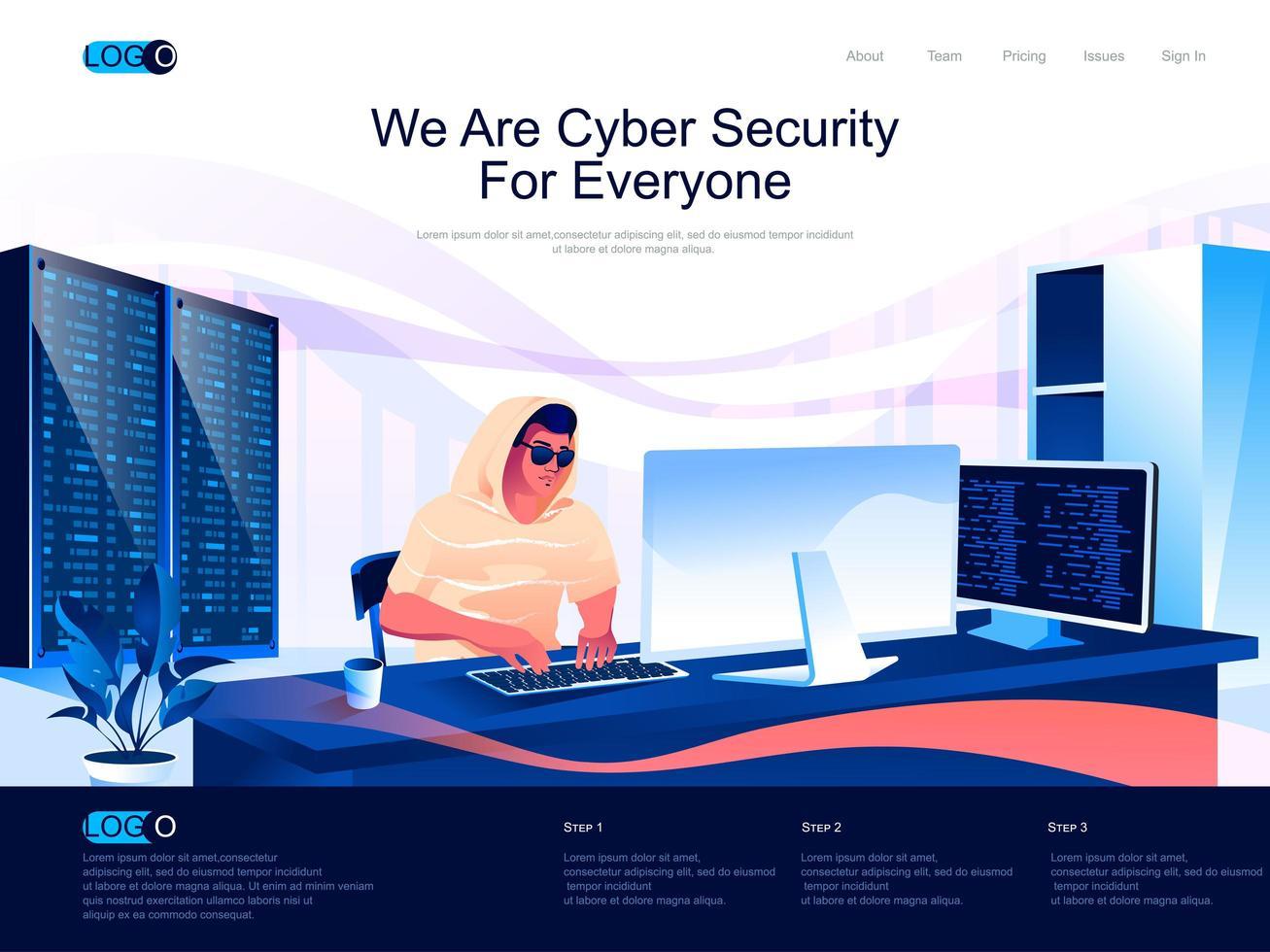 nós somos a página de destino da segurança cibernética para todos vetor