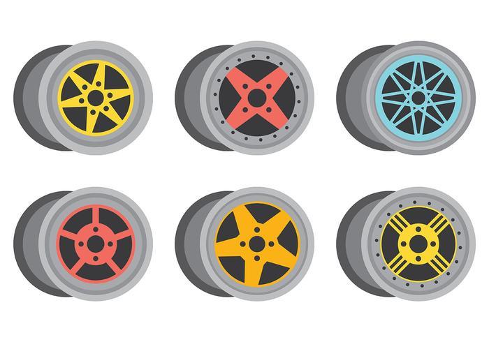 Ícones de vetor de rodas de liga