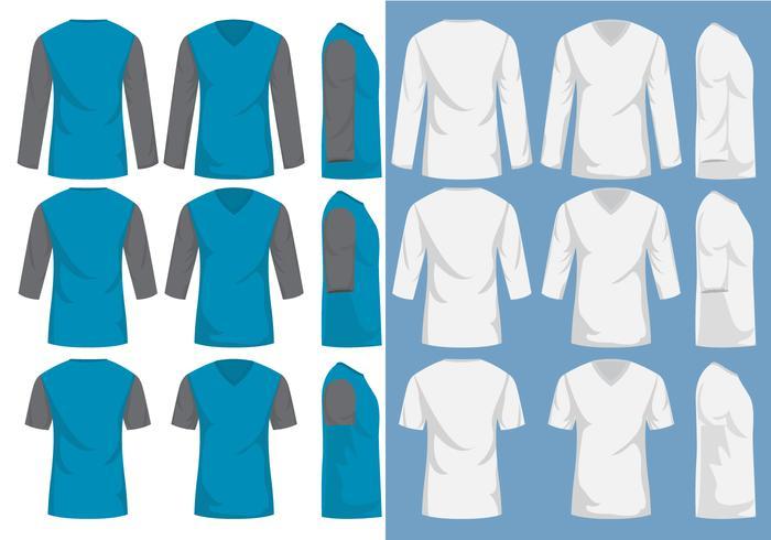 Camisa do pescoço dos homens V vetor