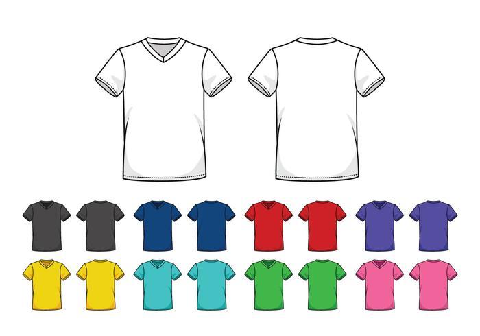 Conjunto de modelos coloridos em V-Neck Shirts vetor