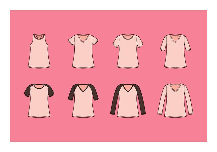 Coleção livre do vetor da camisa do V-Pescoço