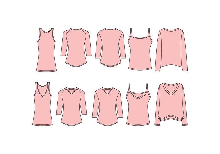 Livre mulheres v pescoço camisa modelo vetor