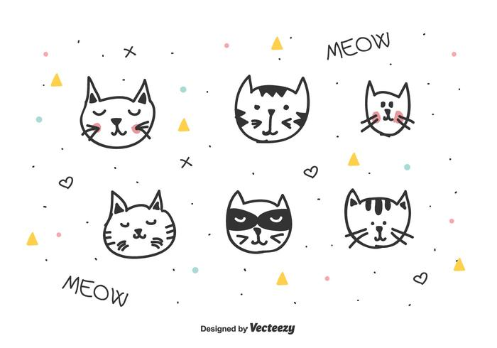 Vector de cabeças de gatos